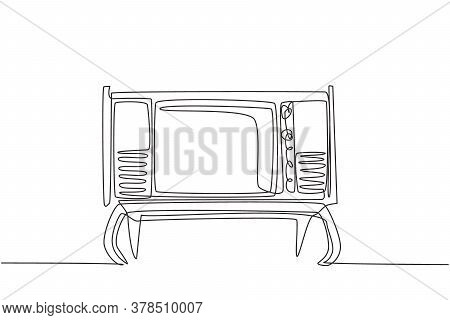 One Single Line Drawing Of Retro Old Fashioned Tv With Wooden Table And Table Legs. Classic Vintage