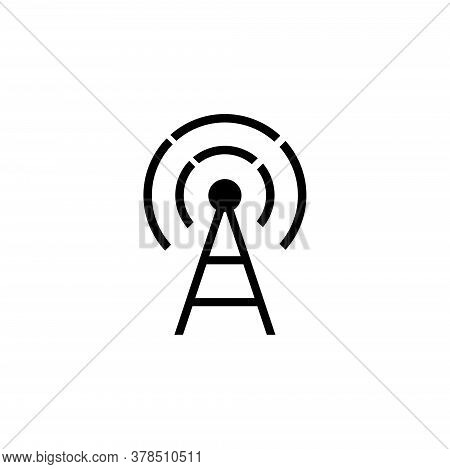 Transmitter Antenna, Cell Phone Tower. Flat Vector Icon Illustration. Simple Black Symbol On White B