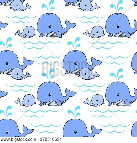 Mother Whale And Baby Whale Swim On The Waves, Cute Blue Whales On A White Background. Vector Seamle
