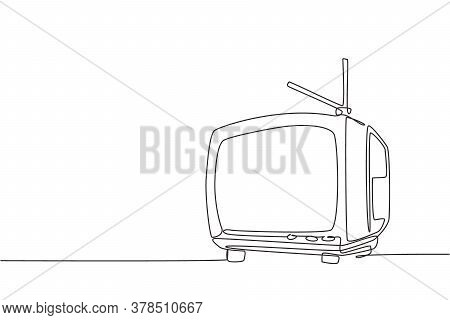 Single Continuous Line Drawing Of Retro Old Fashioned Tv With Internal Antenna. Classic Vintage Anal