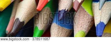 Close-up Of Multicoloured Pencils. Tools For Creativity Or Drawing Creative Picture. Back To School.