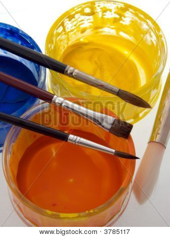 Paint brushes and paints