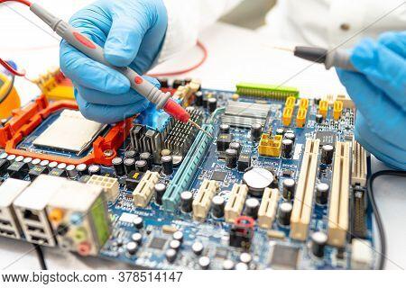 Technician Repairing Micro Circuit Main Board Computer Electronic Technology, Hardware, Mobile Phone