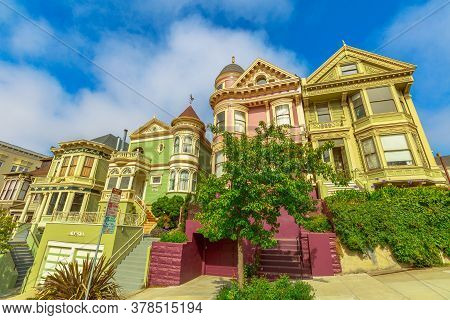 San Francisco, California, United States - August 17, 2016: Colorful Victorian Houses Of San Francis