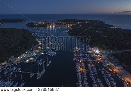 An Aerial Shot At Dusk Of Verudela Peninsula With Yachts And Boats In Pula, Istria, Croatia