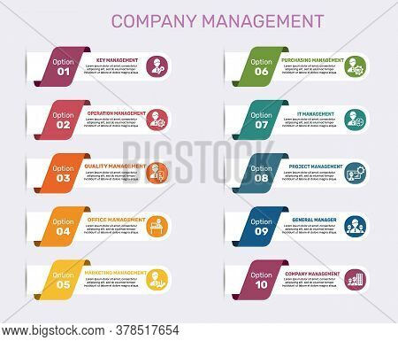 Infographic Company Management Template. Icons In Different Colors. Include Key Management, Operatio
