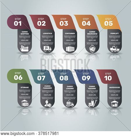 Infographic Cargo Template. Icons In Different Colors. Include Cargo Shipping, Logistics, Container,