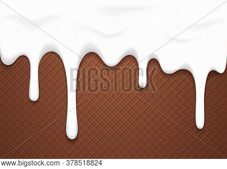 White Melting And Dripping Down Glaze On Chocolate Wafer. Vector Sweet Food Background