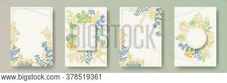 Simple Herb Twigs, Tree Branches, Leaves Floral Invitation Cards Templates. Herbal Corners Modern Ca