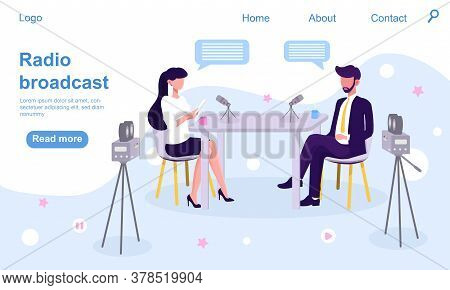 Man And Woman Sitting At The Desk And Talking In A Studio With Microphones And Video Cameras. Interv