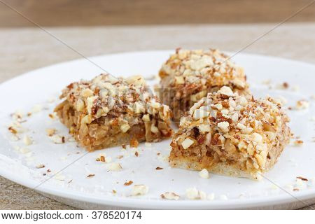 Photo Of Homemade Healthy Apple Pie With Crushed Almonds, Gluten-free.