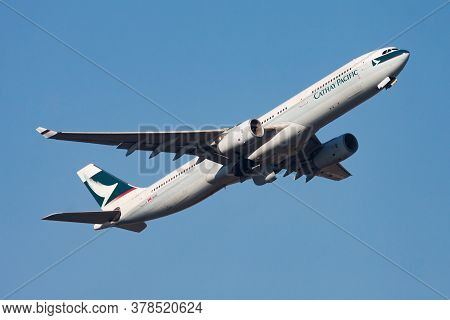 Hong Kong / China - December 1, 2013: Cathay Pacific Airways Airbus A330-300 B-lah Passenger Plane D