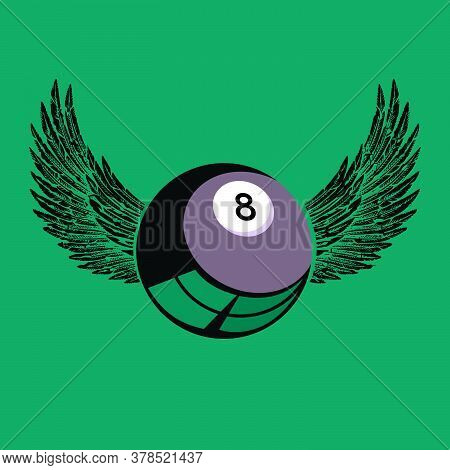 Vector Illustration Of A Black Billiard Ball With Wings On Green Background. Design For Pool Or Bill