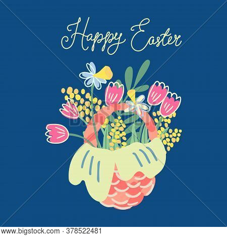 Hand Drawn Vector Illustration Of A Nice Wicker Basket With Flowers Isolated On Navy Blue Background