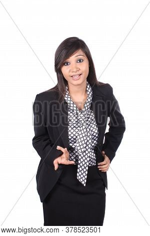 A Beautiful Indian Businesswoman Asking A Question, On White Studio Background.