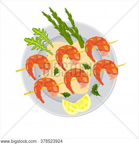 Plate With Shrimp, Asparagus, Lemon Wedges And Aromatic Herbs. Delicious Grilled Shrimp. Seafood Nut