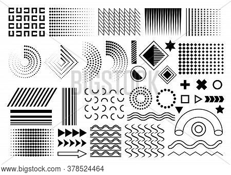 Black Set Of Memphis Design Elements, Memphis Geometric Simple Isolated Graphic Elements Collection