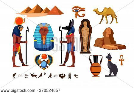 Egyptian Symbols Set. Egypt Culture Collection. Can Be Used For Topics Like History, Heritage, Arche
