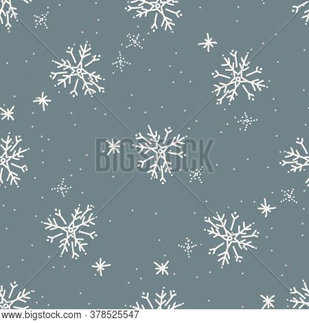 Seamless Winter Snowflake Background Pattern. Simple Gender Neutral Nursery Festive Scrapbook Digita