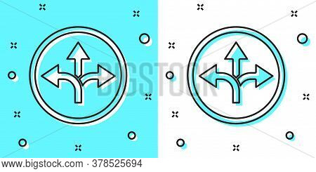Black Line Road Traffic Sign. Signpost Icon Isolated On Green And White Background. Pointer Symbol.