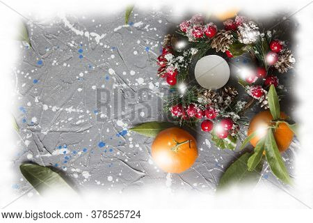 Tangerines Or Fresh Tangerines On A Wooden Background. Tangerines With Green Leaves. Christmas Compo