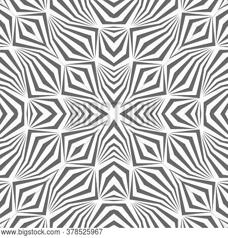 Abstract Pattern With Geometric Shapes From Lines. Image With Optical Illusion.
