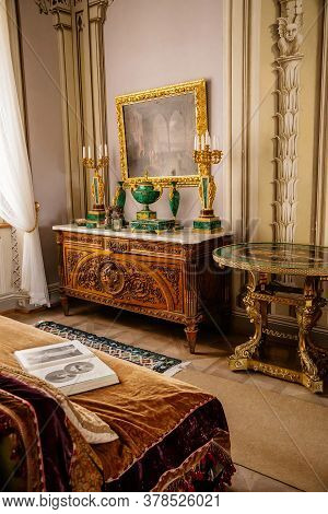 Castle Interior With Collection Of Paintings And Sculptures Inlaid With Malachite. Castle Bitov, Sou