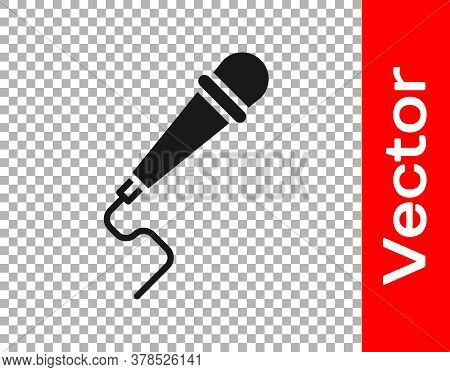 Black Microphone Icon Isolated On Transparent Background. On Air Radio Mic Microphone. Speaker Sign.