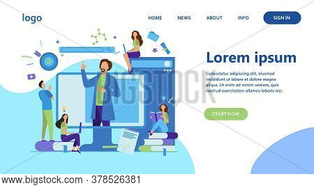 Teacher Reading Lecture Online Isolated Flat Vector Illustration. Students Learning Lesson Via Lapto