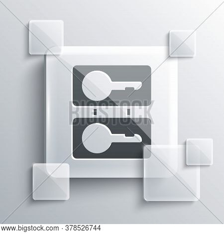 Grey Metal Mold Plates For Casting Keys Icon Isolated On Grey Background. Set For Mass Production An