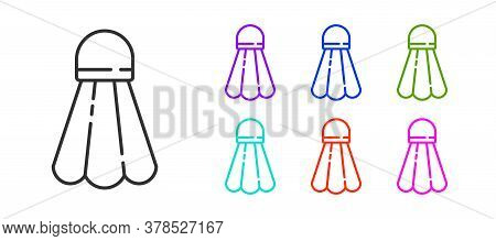 Black Line Badminton Shuttlecock Icon Isolated On White Background. Sport Equipment. Set Icons Color
