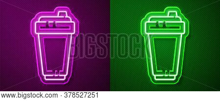 Glowing Neon Line Fitness Shaker Icon Isolated On Purple And Green Background. Sports Shaker Bottle