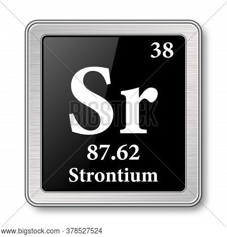 Strontium Symbol.chemical Element Of The Periodic Table On A Glossy Black Background In A Silver Fra