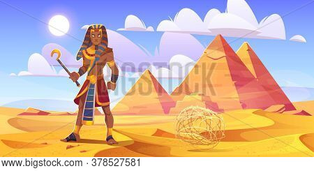 Ancient Egyptian Pharaoh With Rod In Desert With Pyramids. Vector Cartoon Illustration Of Landscape