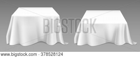 White Tablecloth On Square Tables. Vector Realistic Mockup Of Empty Dining Desk With Blank Linen Clo