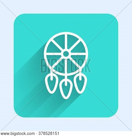 White Line Dream Catcher With Feathers Icon Isolated With Long Shadow. Green Square Button. Vector I