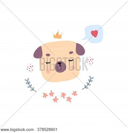 Vector Illustration Of Pug Cute Head On White Background. Drawn By Hand Doodle Style Doggy With Elem