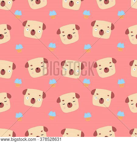 Colorful Vector Pattern Of Cute Pugs With Cakes On Pink Background. Perfect For Childish Decorating