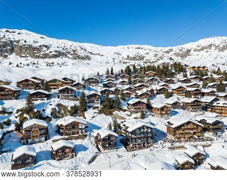 Bettmeralp, Switzerland - February 16. 2019: Aerial Image Of  The Swiss Alps Chalet Village Bettmera