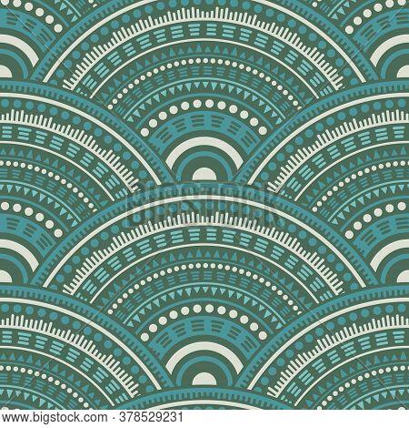 Moroccan Circular Shapes Fabric Print Vector Seamless Pattern. Oriental Motifs Retro Repeating Illus
