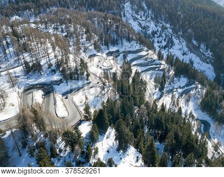 Aerial View Of The Famous Curvy Maloja Pass In Winter, Switzerland