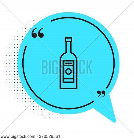 Black Line Glass Bottle Of Vodka Icon Isolated On White Background. Blue Speech Bubble Symbol. Vecto