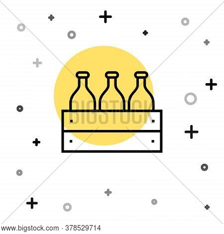 Black Line Bottles Of Wine In A Wooden Box Icon Isolated On White Background. Wine Bottles In A Wood