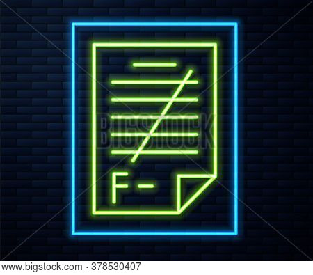 Glowing Neon Line Exam Paper With Incorrect Answers Survey Icon Isolated On Brick Wall Background. B