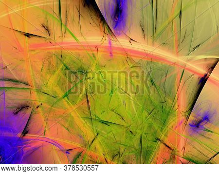 Yellow Abstract Fractal Background 3D Rendering Illustration