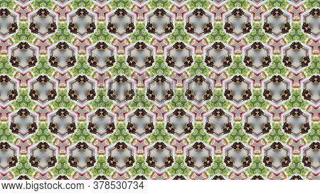 Beautiful Multicolor Texture  With Kaleidoscope Effect. Artistic, Symmetrical Multicolored And Attra