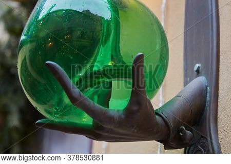 Street Lamp At Night. Designer Lantern. Lantern On A Pole