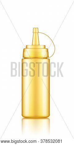 Golden Plastic Squeeze Mustard Bottle With Cap Mockup