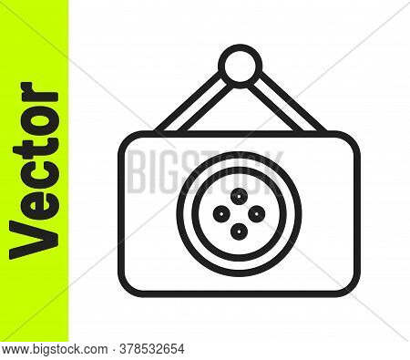 Black Line Tailor Shop Icon Isolated On White Background. Vector Illustration