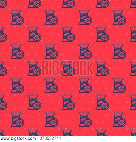 Blue Line Sewing Thread On Spool And Button Icon Isolated Seamless Pattern On Red Background. Yarn S